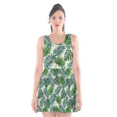 Leaves Tropical Wallpaper Foliage Scoop Neck Skater Dress