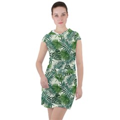 Leaves Tropical Wallpaper Foliage Drawstring Hooded Dress