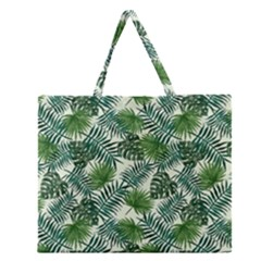 Leaves Tropical Wallpaper Foliage Zipper Large Tote Bag