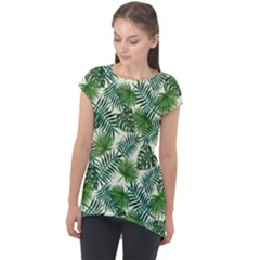 Leaves Tropical Wallpaper Foliage Cap Sleeve High Low Top