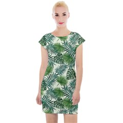 Leaves Tropical Wallpaper Foliage Cap Sleeve Bodycon Dress