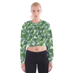 Leaves Tropical Wallpaper Foliage Cropped Sweatshirt