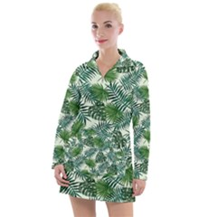 Leaves Tropical Wallpaper Foliage Women s Long Sleeve Casual Dress