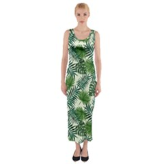 Leaves Tropical Wallpaper Foliage Fitted Maxi Dress