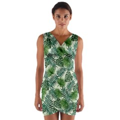 Leaves Tropical Wallpaper Foliage Wrap Front Bodycon Dress