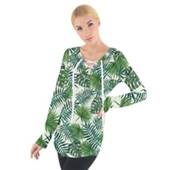 Leaves Tropical Wallpaper Foliage Tie Up Tee
