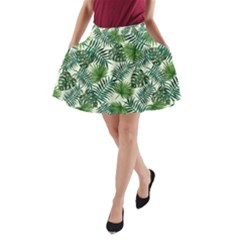 Leaves Tropical Wallpaper Foliage A-Line Pocket Skirt