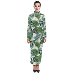 Leaves Tropical Wallpaper Foliage Turtleneck Maxi Dress