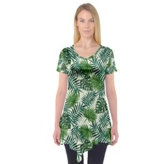 Leaves Tropical Wallpaper Foliage Short Sleeve Tunic