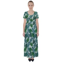 Leaves Tropical Wallpaper Foliage High Waist Short Sleeve Maxi Dress by Pakrebo