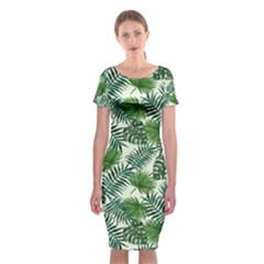 Leaves Tropical Wallpaper Foliage Classic Short Sleeve Midi Dress