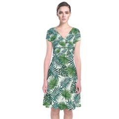 Leaves Tropical Wallpaper Foliage Short Sleeve Front Wrap Dress