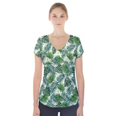 Leaves Tropical Wallpaper Foliage Short Sleeve Front Detail Top