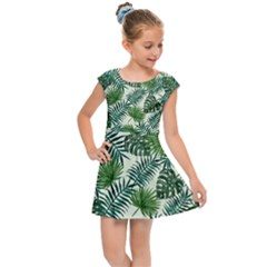 Leaves Tropical Wallpaper Foliage Kids  Cap Sleeve Dress