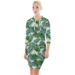 Leaves Tropical Wallpaper Foliage Quarter Sleeve Hood Bodycon Dress