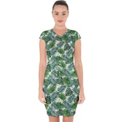 Leaves Tropical Wallpaper Foliage Capsleeve Drawstring Dress