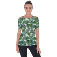 Leaves Tropical Wallpaper Foliage Shoulder Cut Out Short Sleeve Top