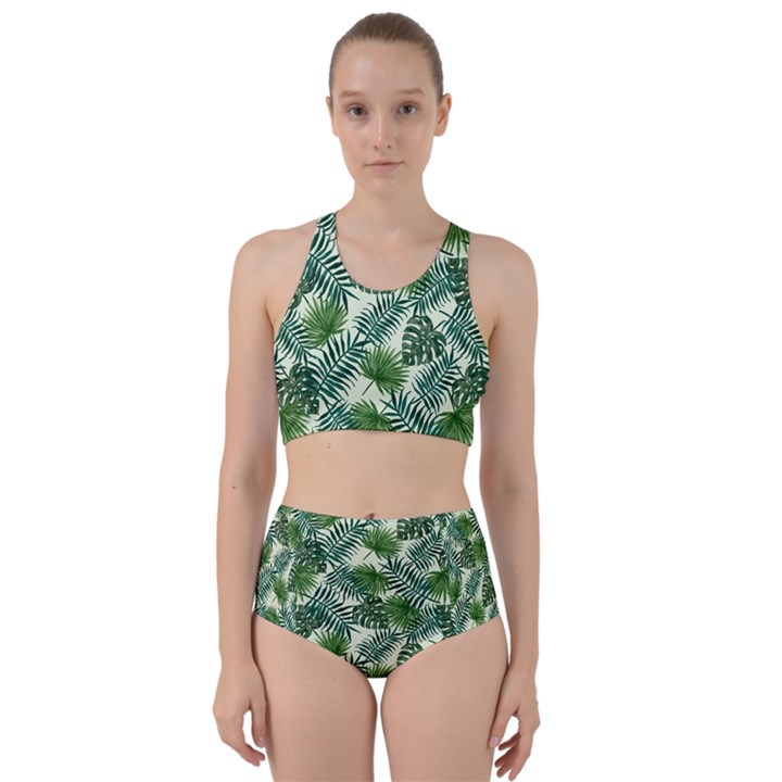 Leaves Tropical Wallpaper Foliage Racer Back Bikini Set