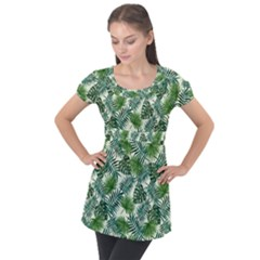 Leaves Tropical Wallpaper Foliage Puff Sleeve Tunic Top