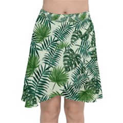 Leaves Tropical Wallpaper Foliage Chiffon Wrap Front Skirt
