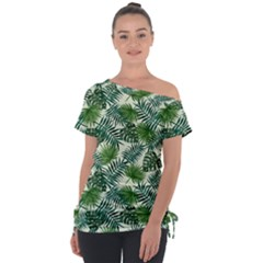 Leaves Tropical Wallpaper Foliage Tie Up Tee by Pakrebo