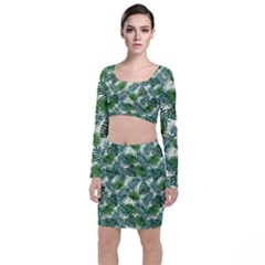 Leaves Tropical Wallpaper Foliage Top and Skirt Sets