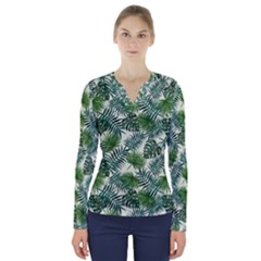 Leaves Tropical Wallpaper Foliage V-Neck Long Sleeve Top