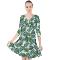 Leaves Tropical Wallpaper Foliage Quarter Sleeve Front Wrap Dress