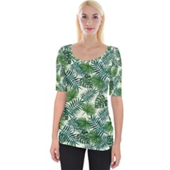 Leaves Tropical Wallpaper Foliage Wide Neckline Tee