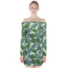 Leaves Tropical Wallpaper Foliage Long Sleeve Off Shoulder Dress