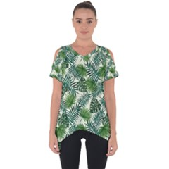 Leaves Tropical Wallpaper Foliage Cut Out Side Drop Tee