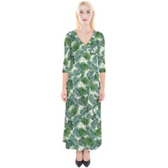 Leaves Tropical Wallpaper Foliage Quarter Sleeve Wrap Maxi Dress