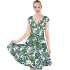 Leaves Tropical Wallpaper Foliage Cap Sleeve Front Wrap Midi Dress