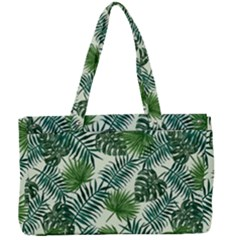 Leaves Tropical Wallpaper Foliage Canvas Work Bag
