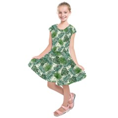 Leaves Tropical Wallpaper Foliage Kids  Short Sleeve Dress