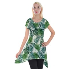 Leaves Tropical Wallpaper Foliage Short Sleeve Side Drop Tunic