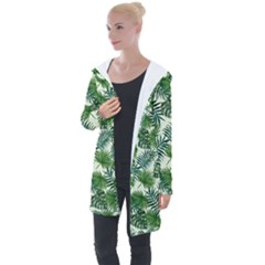 Leaves Tropical Wallpaper Foliage Longline Hooded Cardigan