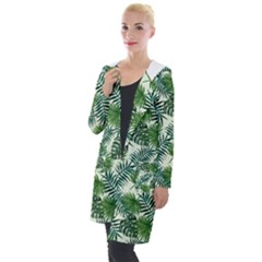 Leaves Tropical Wallpaper Foliage Hooded Pocket Cardigan