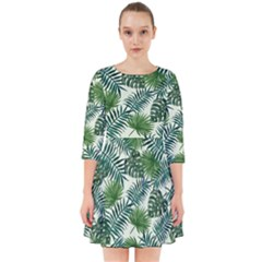 Leaves Tropical Wallpaper Foliage Smock Dress