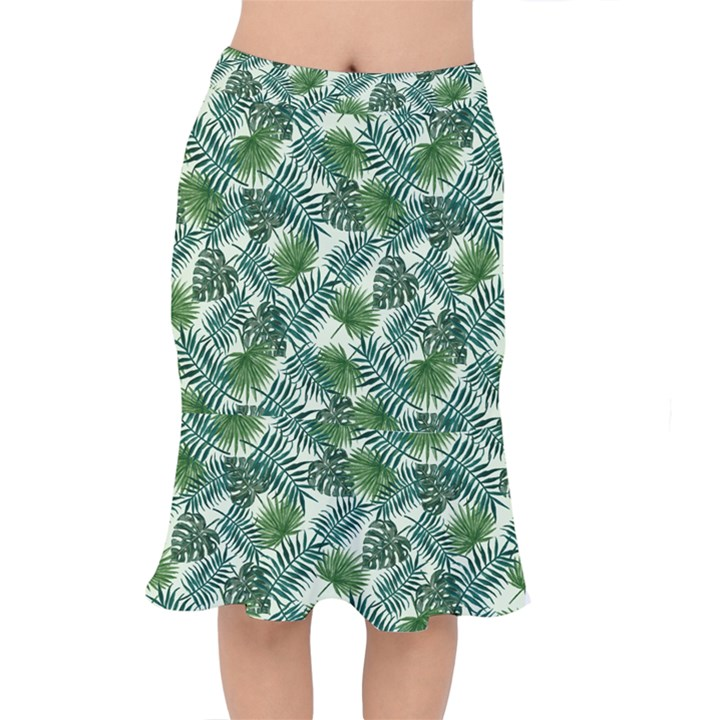 Leaves Tropical Wallpaper Foliage Short Mermaid Skirt