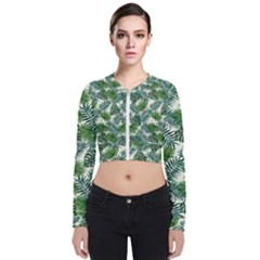 Leaves Tropical Wallpaper Foliage Long Sleeve Zip Up Bomber Jacket