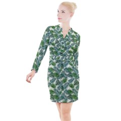 Leaves Tropical Wallpaper Foliage Button Long Sleeve Dress
