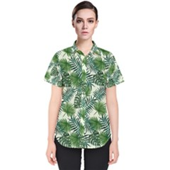 Leaves Tropical Wallpaper Foliage Women s Short Sleeve Shirt