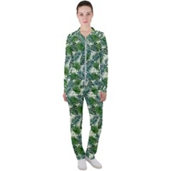 Leaves Tropical Wallpaper Foliage Casual Jacket and Pants Set