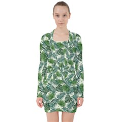 Leaves Tropical Wallpaper Foliage V-neck Bodycon Long Sleeve Dress