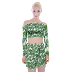 Leaves Tropical Wallpaper Foliage Off Shoulder Top with Mini Skirt Set