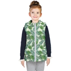 Leaves Tropical Wallpaper Foliage Kids  Hooded Puffer Vest