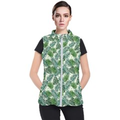 Leaves Tropical Wallpaper Foliage Women s Puffer Vest