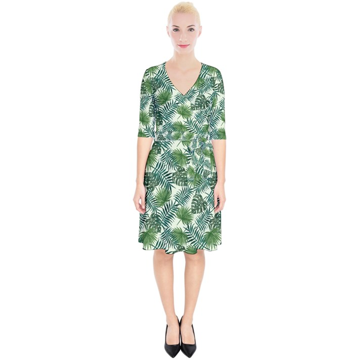 Leaves Tropical Wallpaper Foliage Wrap Up Cocktail Dress