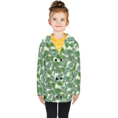 Leaves Tropical Wallpaper Foliage Kids  Double Breasted Button Coat